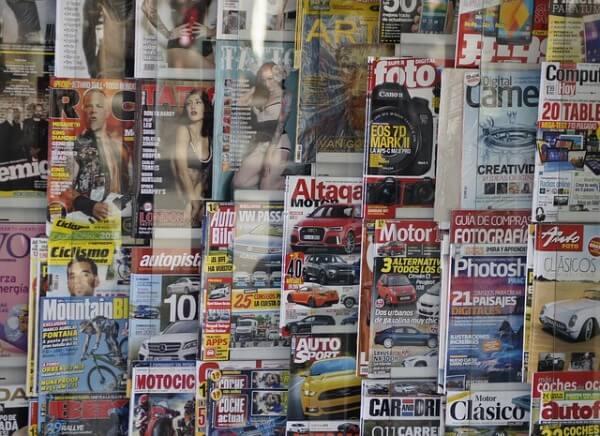 Magazyny prasowe w witrynie